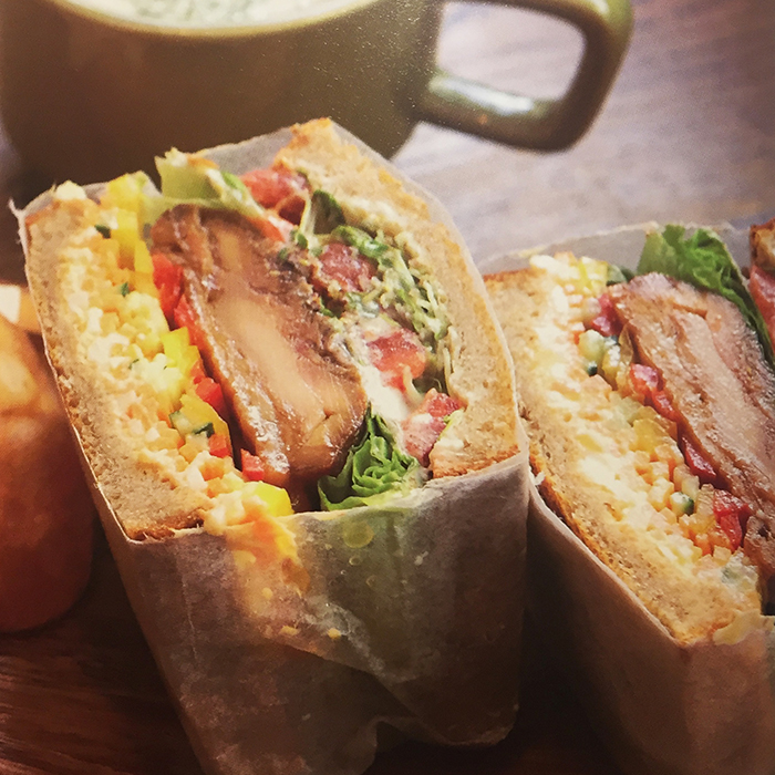 Teriyaki chicken, broccoli sprouts and egg salad sandwiches