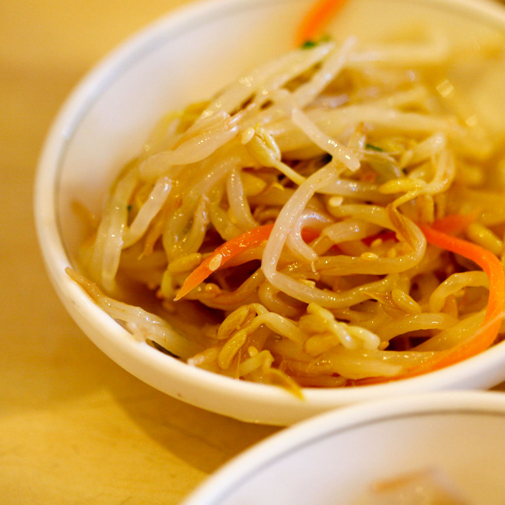 korean bean sprouts on white small plate